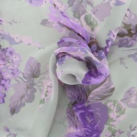 Tissu mousseline fleurie - gris/violet x 10cm