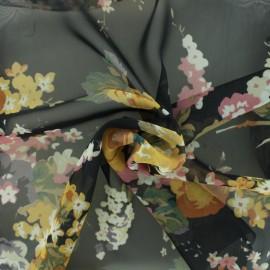 Tissu mousseline fleurie - noir/miel x 10cm