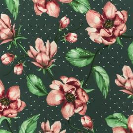 Blouse Crepe Fabric Japanese camelia - pink x 10cm