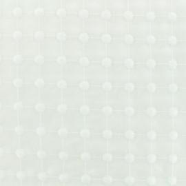 Tissu coton brodé Petites Pastilles - blanc x 10cm