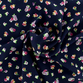Floral crepe Fabric - navy x 10cm