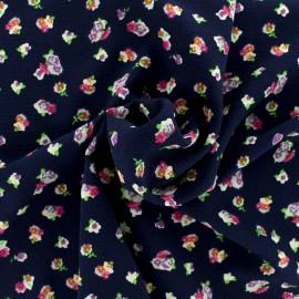 Tissu crepe petites fleurs - fond marine x 10cm