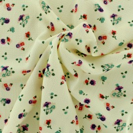 ♥ Only one piece 20 cm X 148 cm ♥ Floral crepe Fabric - ecru