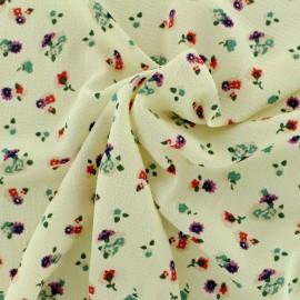 Tissu crepe petites fleurs - fond écru x 10cm