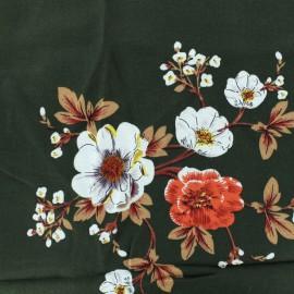 Rayon fabric field flowers - dark green x 10cm
