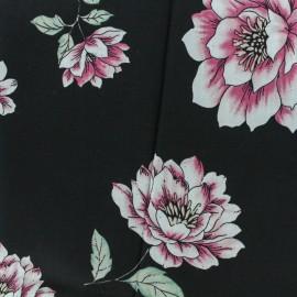 Rayon fabric peonies - black background x 30cm