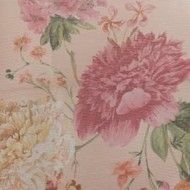 Tissu organza pivoines - fond rose x 30cm