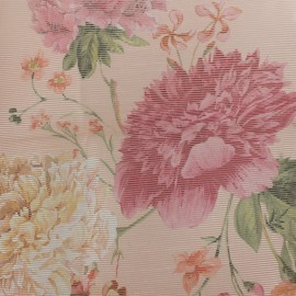 Organza fabric peonies - pink background x 30cm
