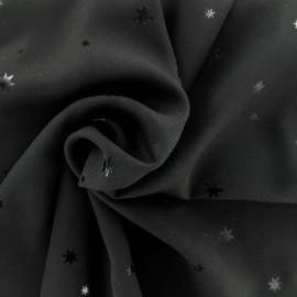 Tissu crêpe Chemisier étoiles - noir x 10 cm