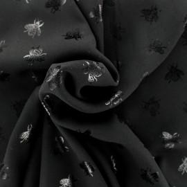 Tissu crêpe Chemisier abeille - noir x 10 cm
