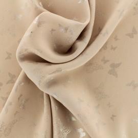 Tissu crêpe Chemisier papillons - rose poudré x 10 cm