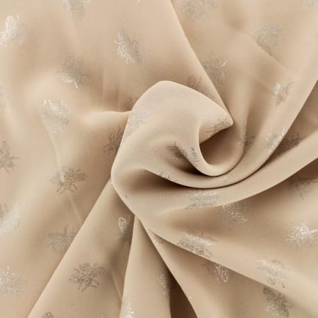 Tissu crêpe Chemisier abeille - rose poudré x 10 cm