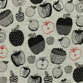 Poppy Oeko-Tex light sweat black apple fabric - light grey background x 10cm