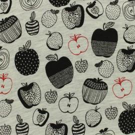 Tissu Poppy Oeko-Tex sweat léger pommes noir - gris clair x 10cm