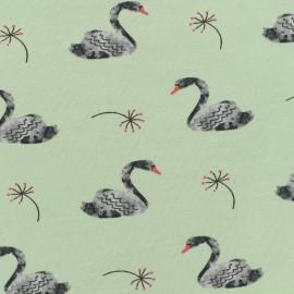 Poppy jersey Lovely swan - aqua background x 10cm