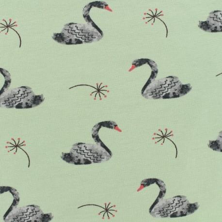 Poppy Oeko-Tex jersey Lovely swan - aqua background x 10cm