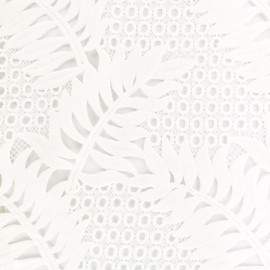 Guipure embroidery fabric Palm - white x 10cm