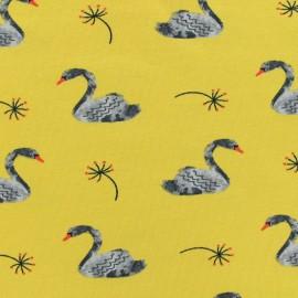♥ Coupon 200 cm X 150 cm ♥  Poppy jersey Lovely swan - mustard