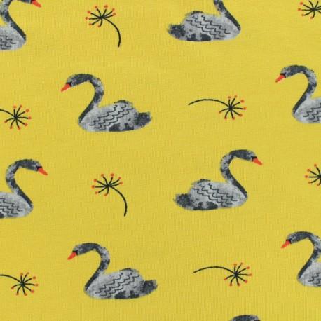 Poppy Oeko-Tex jersey Lovely swan - mustard x 10cm