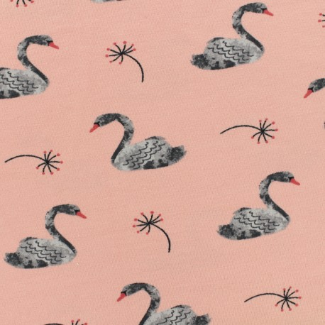 Poppy Oeko-Tex jersey Lovely swan - pink baby x 10cm