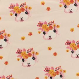 Tissu Poppy Oeko-Tex sweat léger Rabbit bella - rose layette x 10cm