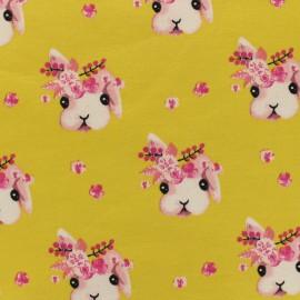 Tissu Poppy Oeko-Tex sweat léger Rabbit bella - moutarde x 10cm