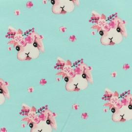 Tissu Poppy Oeko-Tex sweat léger Rabbit bella - bleu ciel x 10cm