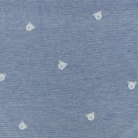 Denim bear Jersey Fabric - blue x 10cm