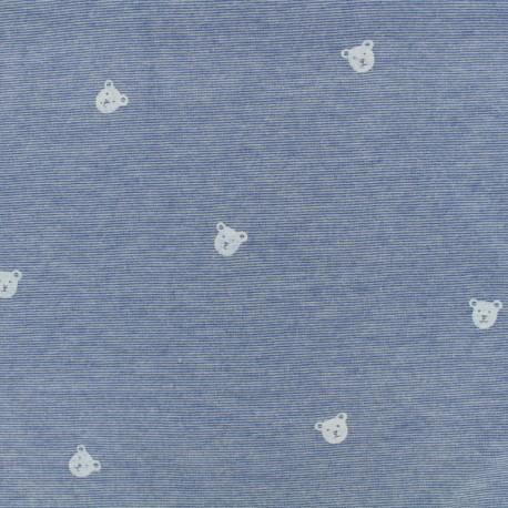 Denim bear Jersey Fabric - blue x 10cm