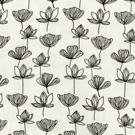 Tissu by Penelope® Radiance Gingko viscose - blanc x 10cm