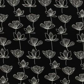 Tissu by Penelope® Radiance Gingko viscose - noir x 10cm