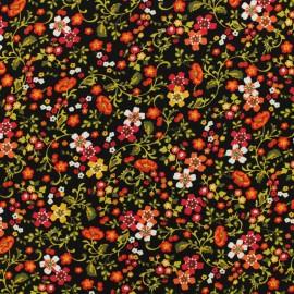 Tissu by Penelope® Radiance fleurs d'automne viscose - noir x 10cm