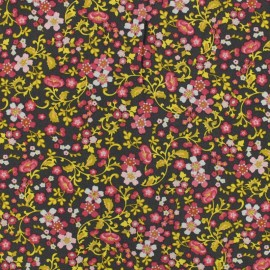 Tissu by Penelope® Radiance fleurs d'automne viscose - taupe x 10cm