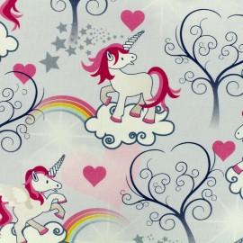 Tissu Toile de coton Unicorn love - gris et rose x 20cm
