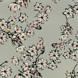 Tissu Gabardine satiné cherry blossom - gris x 10cm