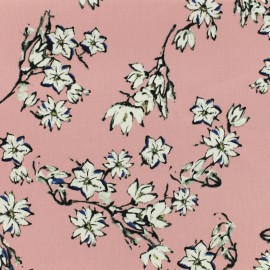 Tissu Gabardine satiné cherry blossom by Penelope® - rose x 10cm