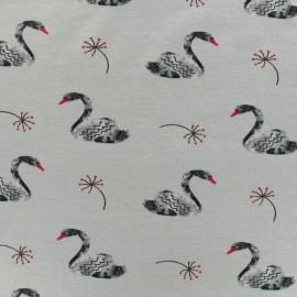 Tissu Poppy Oeko-Tex jersey lovely swan - gris clair x 10cm