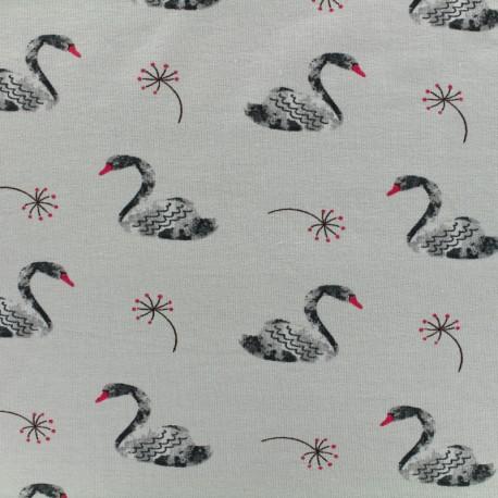 Poppy Oeko-Tex jersey Lovely swan - light grey x 10cm