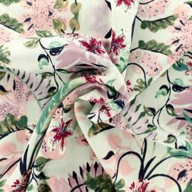 Tissu Royal micro satin Feuillage exotique by Penelope® - gris clair et parme x 10cm