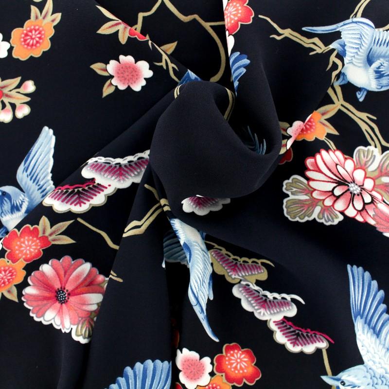 Tissu mousseline fleurs du japon , noir/bleu x 10cm
