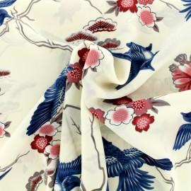 Japanese flowers muslin Fabric - ecru and blue x 20cm