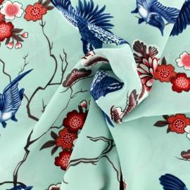 Japanese flowers muslin Fabric - aqua and blue x 20cm