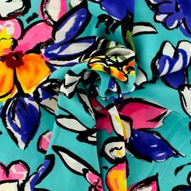 Tissu crêpe Georgette fleurs d'été - aqua/fluo x 20cm