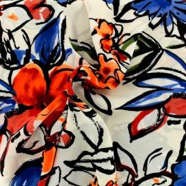 Tissu crêpe Georgette fleurs d'été - ecru/fluo x 20cm