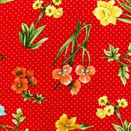 Tissu Viscose petites étoiles grandes fleurs - rouge x 10cm