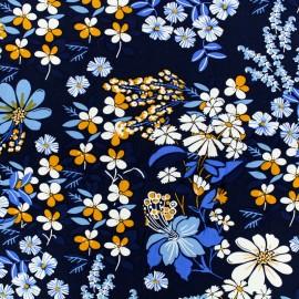 Tissu Viscose fleurs vintage - bleu x 10cm