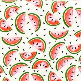 Tissu Viscose pastèques - blanc x 10cm