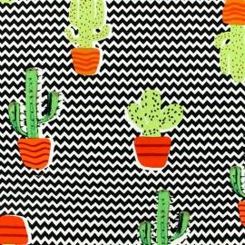 Tissu Viscose cactus - fond chevrons noir et blanc x 10cm