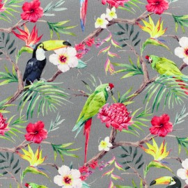 Tissu Poppy Oeko-Tex Toile de coton Tropical birds - gris et rose x 20cm