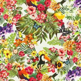Tissu Poppy Oeko-Tex Coton Flower parade - multi fond blanc x 10cm